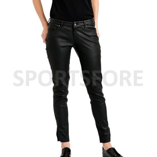 womens black leather pants