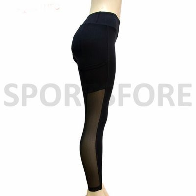 Custom Design Compression Yoga Fitness Sports Workout Mesh Panel Black High Waisted Leggings with Phone Pocket for Women Sportsfore