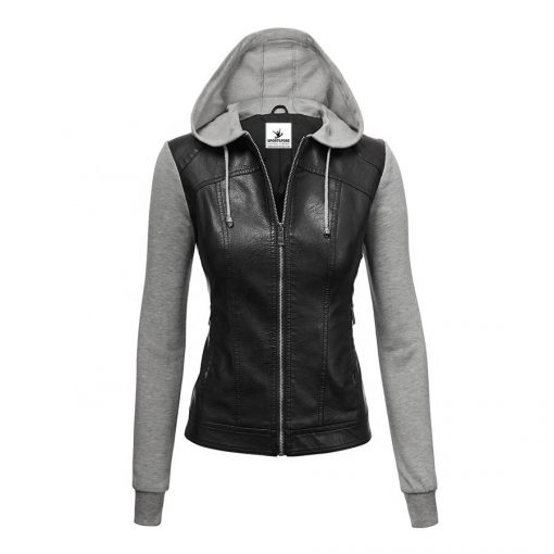 Custom Faux Leather Zip up xxxxl Biker Jacket With Hoodie for Women Sportsfore