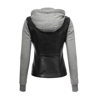 Custom Faux Leather Zip up xxxxl Biker Jacket With Hoodie for Women Sportsfore