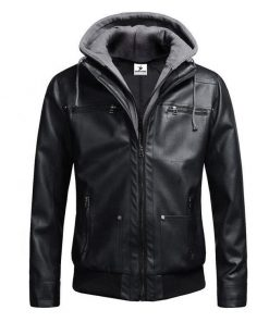 Detachable Hooded Biker Genuine Leather Jacket for Men Sportsfore