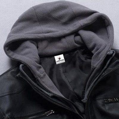 Detachable Hooded Biker Genuine Leather Jacket for Men Sportsfore