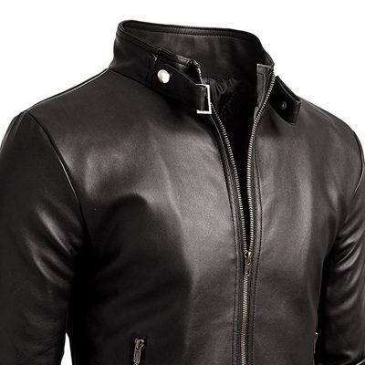 Mens Fashion 100% Genuine Leather Slim Fit Black Jacket Sportsfore