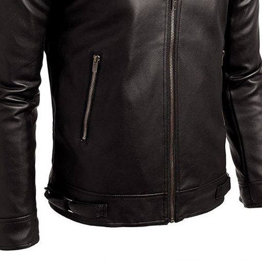 Mens Fashion 100% Genuine Leather Slim Fit Black Jacket Sportsfore