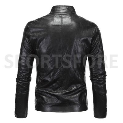 New Fashion Genuine Leather Black Jackets for Men Sportsfore