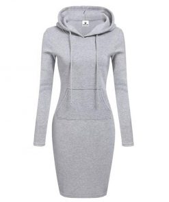 New Season Fashion Plain Blank Long Sleeves Black Hoodies Dress for Women Sportsfore