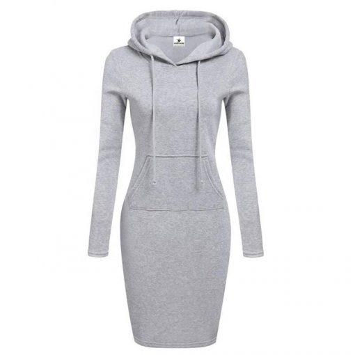 New Season Fashion Plain Blank Long Sleeves Black Hoodies Dress for Women Sportsfore