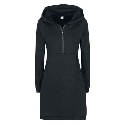 Women Fashion Knee Length Black Long Hooded Dresses Sportsfore