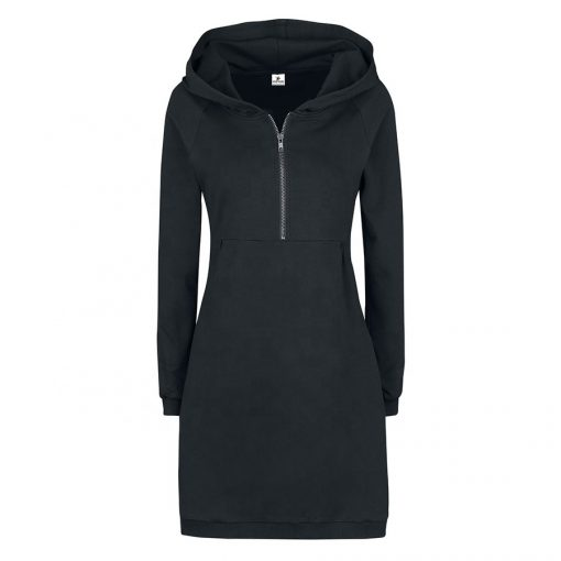 Women Fashion Knee Length Black Long Hooded Dresses Sportsfore
