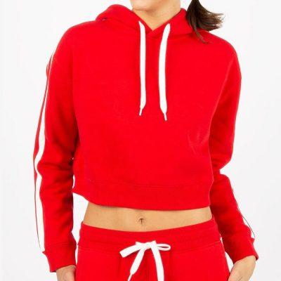 Women Striped Track Crop Top Sweatshirt Black Hoodies Sportsfore