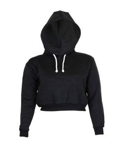 Women's Fashion Trendy Plain Crop Top Pullover Blank Hoodies Sportsfore