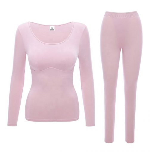Womens thermal underwear set with built-in bra chest pad tops sporsfore