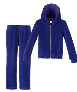 Custom Blue Velour Velvet Tracksuits for Women Sportsfore