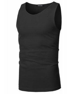 Men's Sleeveless Round Neck Fitness Gym Workout Plain Blank Tank Tops Sportsfore