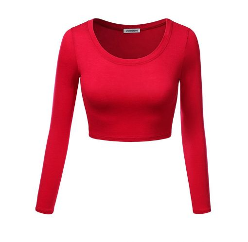 Women Custom New Fashion Active Long Sleeve Round Neck Plain Blank Crop Tops Sportsfore