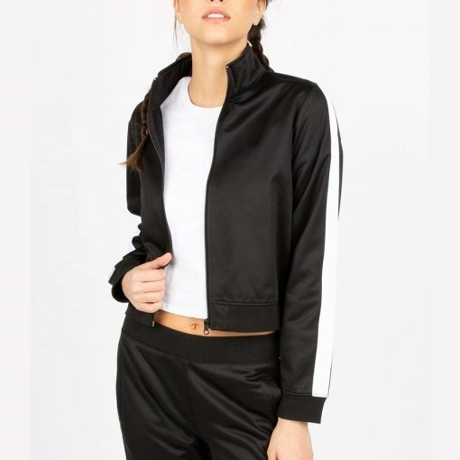 Trendy Fashion Side Stripe Zip up Winter Sports Crop Black Jacket for Ladies Sportsfore