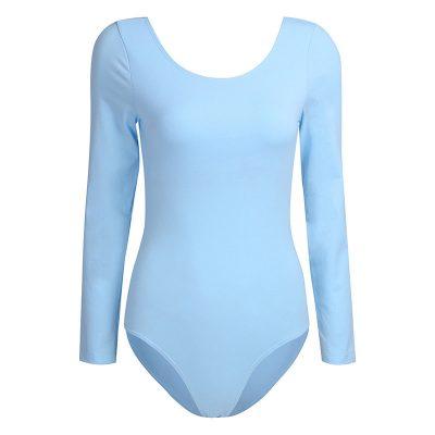 Women's Long Sleeve Scoop Neck Stretch Bodysuit Gymnastics Ballet Leotard Sportsfore