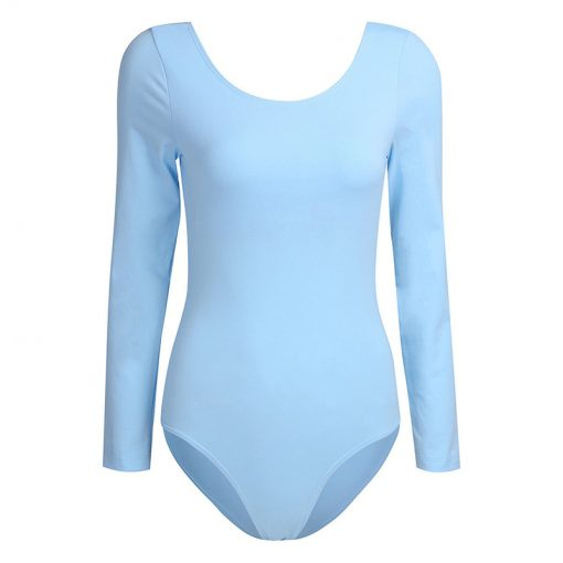 Women's Long Sleeve Scoop Neck Stretch Bodysuit Gymnastics Ballet Leotard Sportsfore