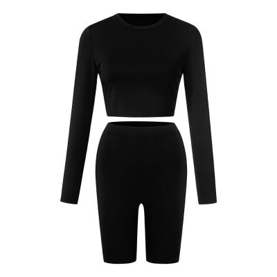 Women 2 Pieces Summer Crop Top & Short Pants Casual Running Jogging Fitness Workout Sport Suit Tracksuit Set Sportsfore
