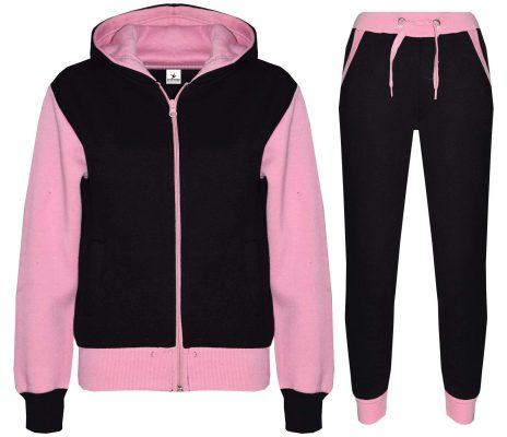 Custom Kids Plain Pink Contrast Fleece Hooded Top Bottom Jogging Tracksuit Set for Girls Sportsfore