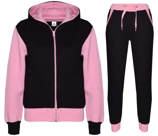 Custom Kids Plain Pink Contrast Fleece Hooded Top Bottom Jogging Tracksuit Set for Girls Sportsfore