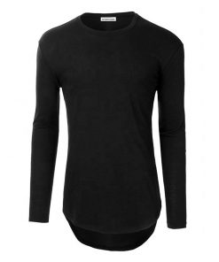 Mens Streetwear Fashion Crewneck Plain Long Sleeve Longline Curved Hem T-shirts Sportsfore