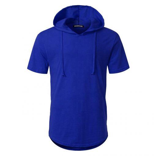 Mens Short Sleeve Pullover Hoodie Plain Blank Hooded Tshirts Sportsfore