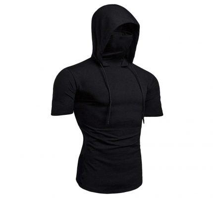 Men's Hooded Drawstring Short Sleeve T-Shirts Sportsfore