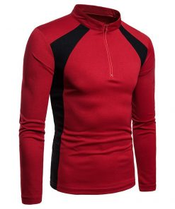 Custom New Fashion Trendy Color Spliced Zip Stand Collar Long Sleeve Tshirts for Men Sportsfore