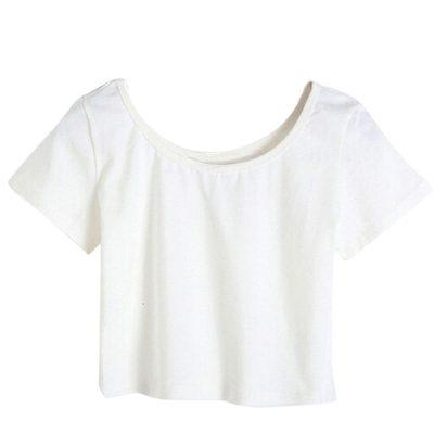 Women Fashion Plain Blank Cotton Crop Top T-shirts Sportsfore