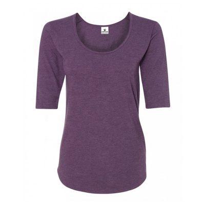 Women Latest Design Fashion Deep Scoop Neck Half Sleeve Plain Blank Sports Gym Formal T-shirts Sportsfore