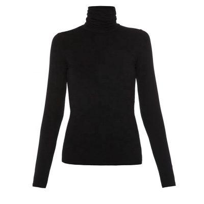 Women Dry Fit Black Blank Plain Turtleneck Long Sleeve T-shirt Sportsfore