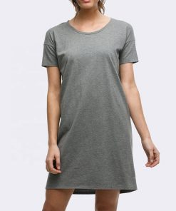 Ladies Plain Blank Crew Neck Women Long T shirt Dress Sportsfore