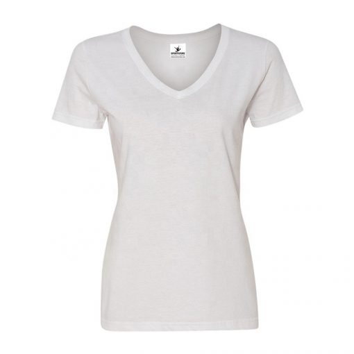 Women's Short Sleeve V Neck Plain Blank White Cotton T shirts Ladies Sportsfore