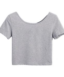 Woman Fashion Short Sleeve U Neck Crop Top Stretch Plain Blank T shirts Sportsfore