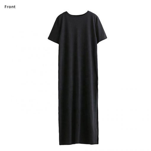 Ladies Bodycon Long Maxi Black T shirt Dress Sportsfore