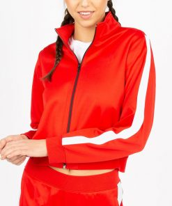 Women Fashion Side Stripe Winter Sports Running Zip up Crop Jacket Sportsfore