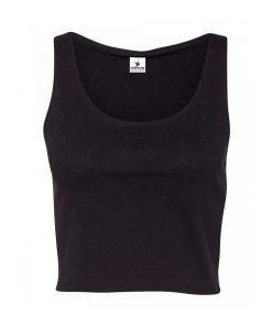 Women's Fitness Athletic Plain Black Crop Tank Tops Sportsfore