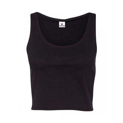 Women's Fitness Athletic Plain Black Crop Tank Tops Sportsfore