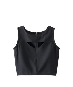 Women's Latest Trendy Summer Fashion Zipper Back Sleeveless Crop Blouses Tank Tops Sportsfore