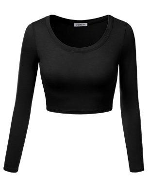 Women Custom New Fashion Active Long Sleeve Round Neck Plain Blank Crop Tops Sportsfore