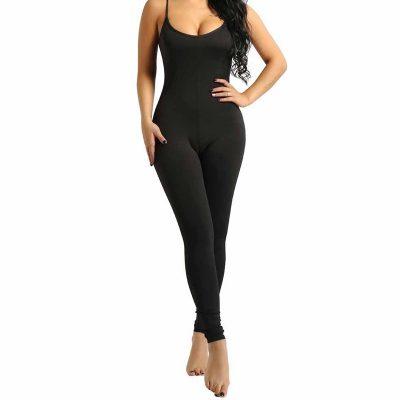 Women Spaghetti Strap Sleeveless Leotard Bodysuit Stretchy Tank Yoga Gym Dance Black Jumpsuit Sportsfore