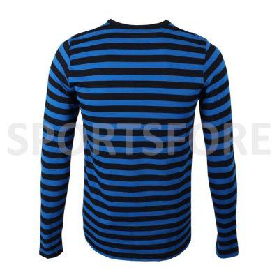 Wholesale Mens New Casual Fashion Black Blue Long Sleeve Crew Neck Striped Tshirt Sportsfore