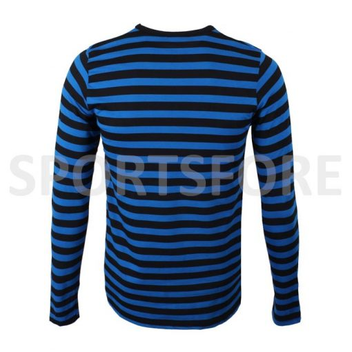 Wholesale Mens New Casual Fashion Black Blue Long Sleeve Crew Neck Striped Tshirt Sportsfore