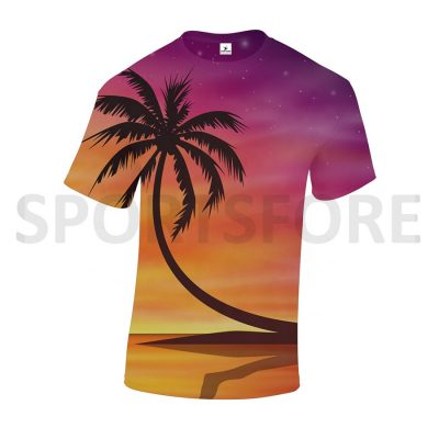 Custom Cheap Sublimation Cut and Sew All Over Print Crew Neck Short Sleeve T shirts Sportsfore