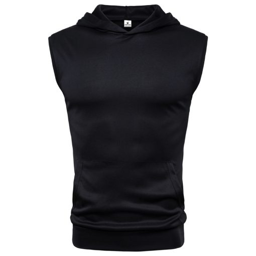Men Casual Fashion Bodybuilding Gym Workout Sleeveless Muscle Hoodie T shirts Sportsfore