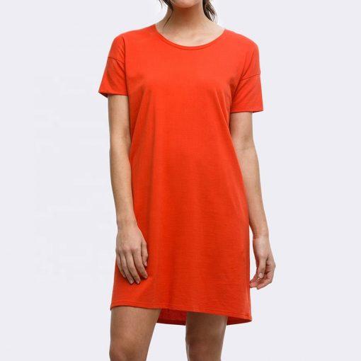 Ladies Plain Blank Crew Neck Women Long T shirt Dress Sportsfore