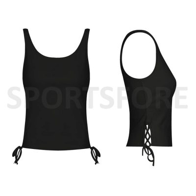 Latest Fashion New Design Smart Fitted Summer Black Scoop Neck Tank Tops for Women Sportsfore