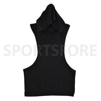 Men Bodybuilding Muscle Fitness Workout Plain Hooded Sleeveless Gym Tank Top