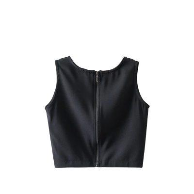 Women's Latest Trendy Summer Fashion Zipper Back Sleeveless Crop Blouses Tank Tops Sportsfore